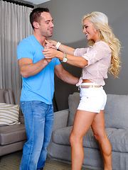 Cameron Dee needs dance lessons, so she stops by her friend's has to practice with her friend's brother. Cameron also wants some lessons in fucking, so after the dancing she gets dirty and takes giant dick on her friend's couch.